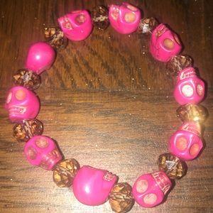 4 for $20.00 Pink skull bracelet